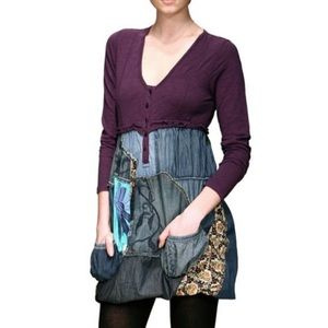 Desigual Long Sleeve Purple Patch Denim Dress